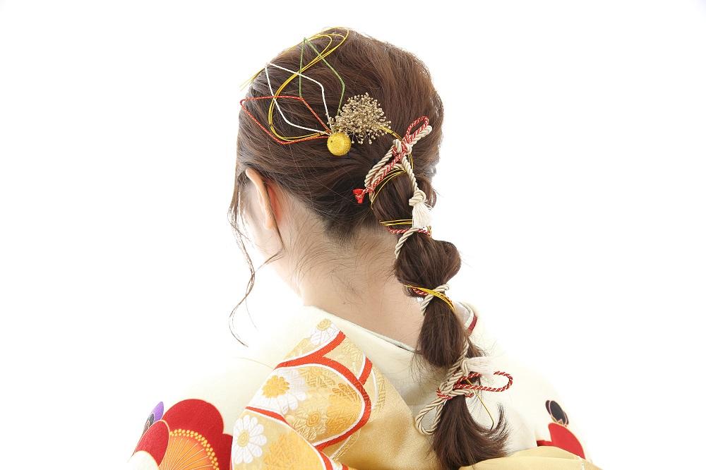 水引を使ったヘアアレンジ、髪型